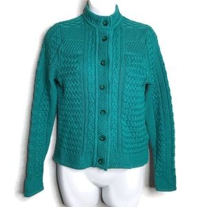 Cardigan Sweater Chunky Knit Green 100% Cotton